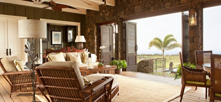 Palecek for a Tropical Living Room with a Ocean View and Hawaii Project by Chelsea Court Designs