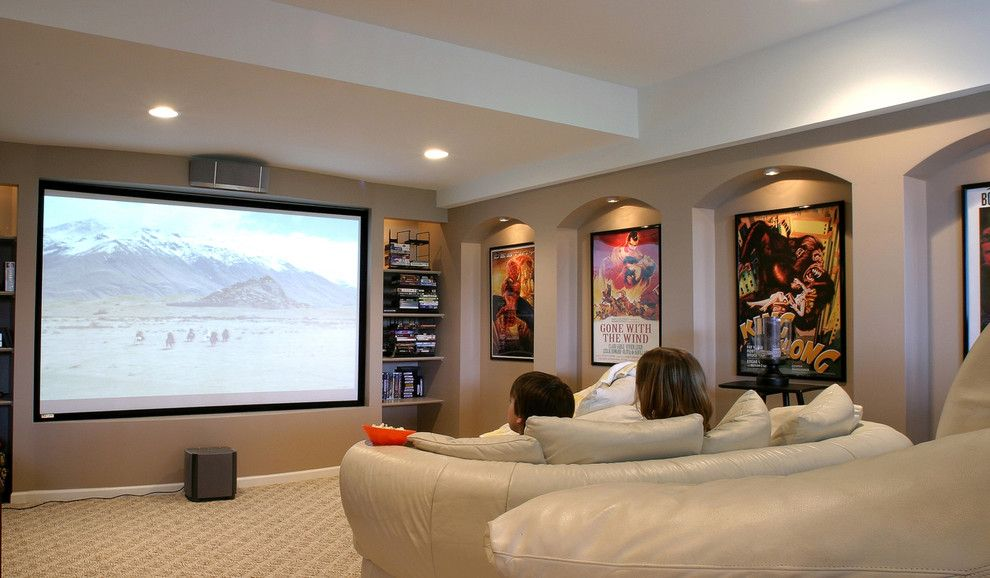 Palisades Movie Theater for a Contemporary Home Theater with a Architectural Detail and M.j. Whelan Construction by M.j. Whelan Construction