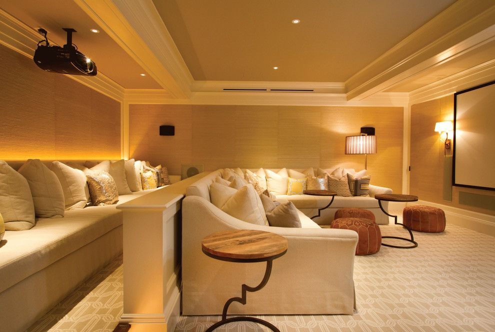 Palisades Movie Theater for a Contemporary Home Theater with a Tan Leather Pouf and Contemporary Home Theater by Adbcinc.com