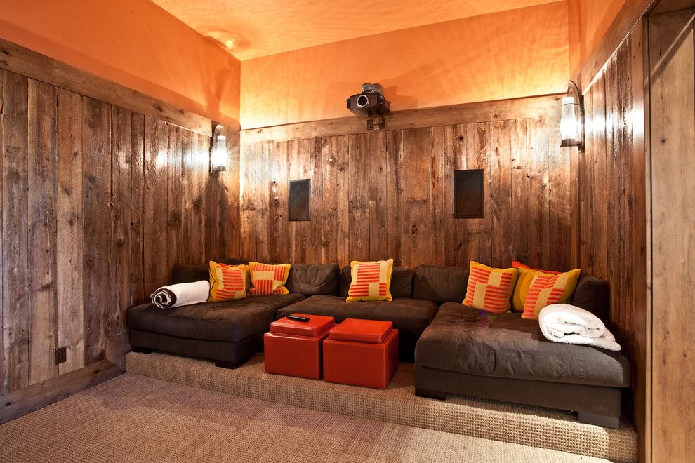 Palisades Movie Theater for a Rustic Home Theater with a Red Yellow and 177 White Pine   New Build by Jaffa Group Design Build