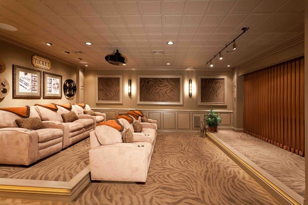 Palisades Movie Theater for a Transitional Basement with a Movie Theater and Movie Theater Room by Custer Design Group