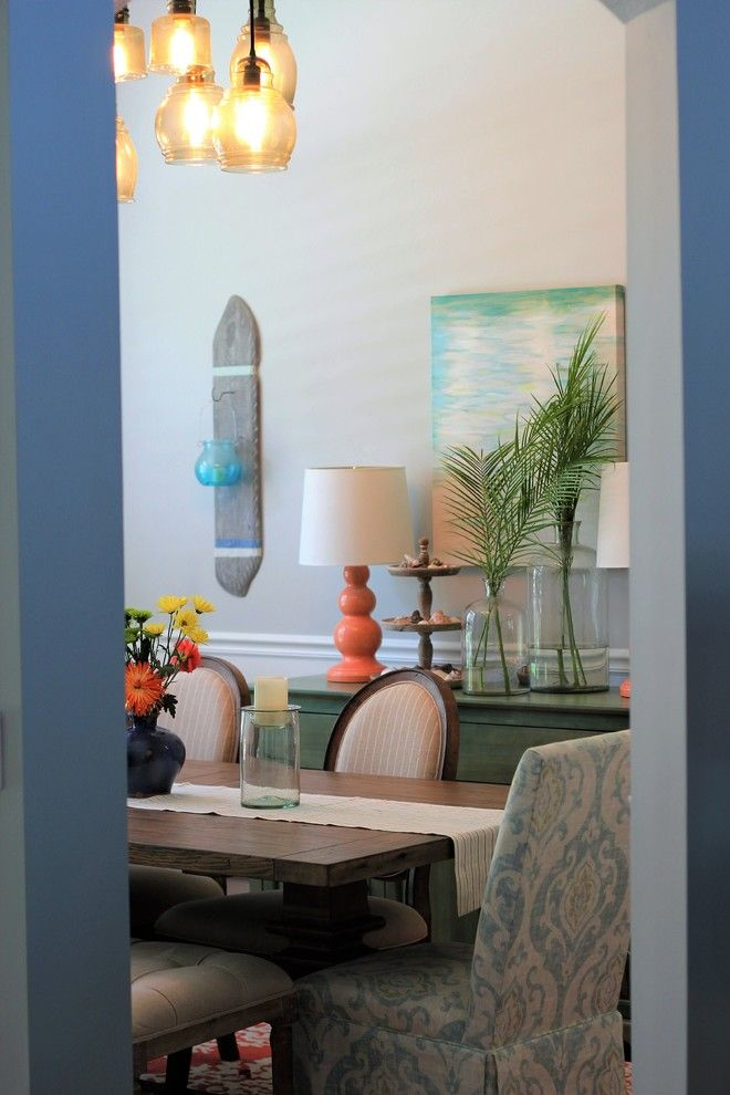 Palm Frond for a Beach Style Dining Room with a Gray Walls and Coastal Contemporary Dining Room   Fleming Island by Elizabeth Hall Designs, Llc