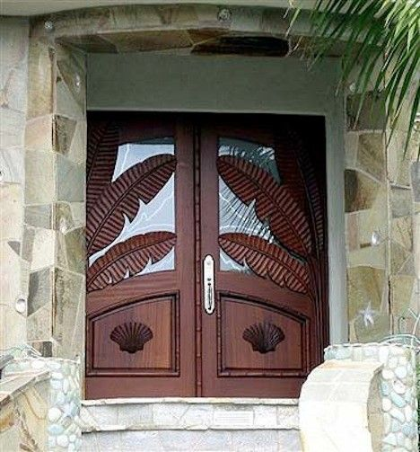 Palm Frond for a Beach Style Entry with a Island Doors and Island Series Custom Door in San Diego, Ca by Affinity Doors