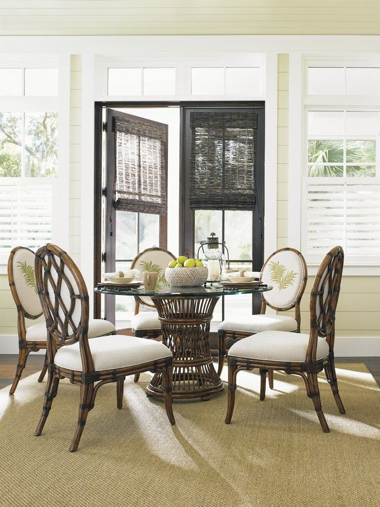 Palm Frond for a Tropical Dining Room with a Vacation Home and Tommy Bahama Home Bali Hai Tropical 7 Piece, Single Pedestal Dining Set by Baer's Furniture