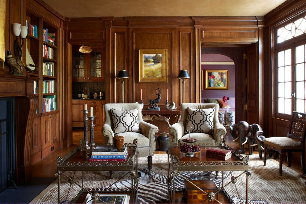 Panema for a Traditional Living Room with a Bar and French Country Estate by Douglas Vanderhorn Architects