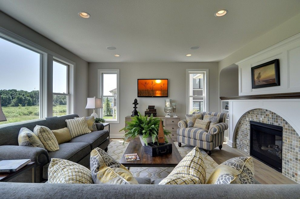 Pantone Color Wheel for a Traditional Family Room with a White Walls and Medina   Bridgewater Model by Wooddale Builders