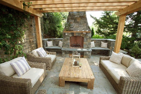 Paoli Furniture for a Traditional Patio with a Stone Fireplace and Outerspaces, Inc by Paoli Design Center