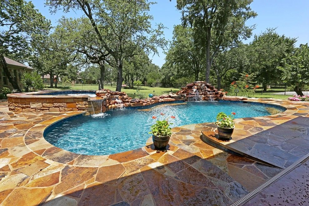 Paradise Pools and Spas for a Contemporary Pool with a Pool Spa and Tricky Custom Pool   Freeform Pool by Paradise Pools & Spas