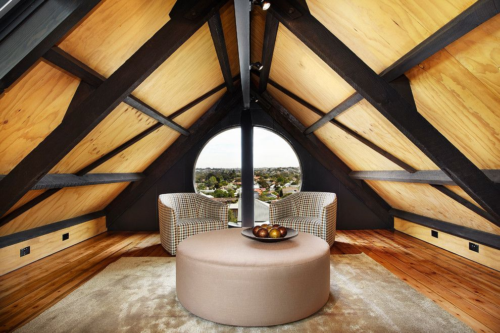 Paragone Reviews for a Contemporary Family Room with a Loft Space and Residential Church Conversion by Bagnato Architects