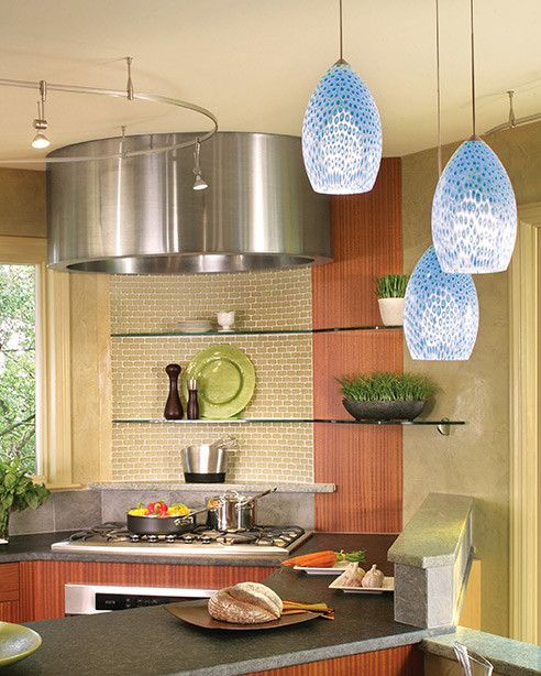 Paramus Lighting for a Contemporary Kitchen with a Monorail and Kitchen Lighting Fixtures by Lightwaves Nj
