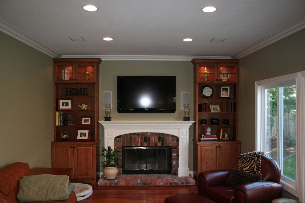 Pasargad for a Traditional Family Room with a Brick Fireplace and Williams by Kitchens of Diablo