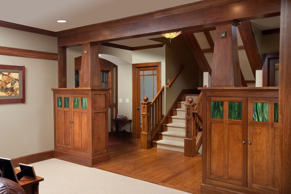 Patcraft Carpet for a Craftsman Staircase with a Wood Railing and Craftsman Home by Melaragno Design Company, Llc