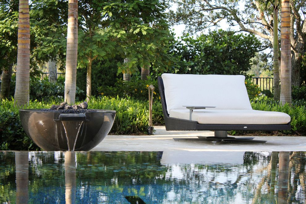 Patio Delray for a Modern Pool with a Beautiful Pools and Fire Bowl Detail by Krent Wieland Design, Inc