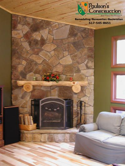Paulson Tours for a Rustic Family Room with a Fireplace Mantels and Misc Projects by Paulson's Construction, Inc