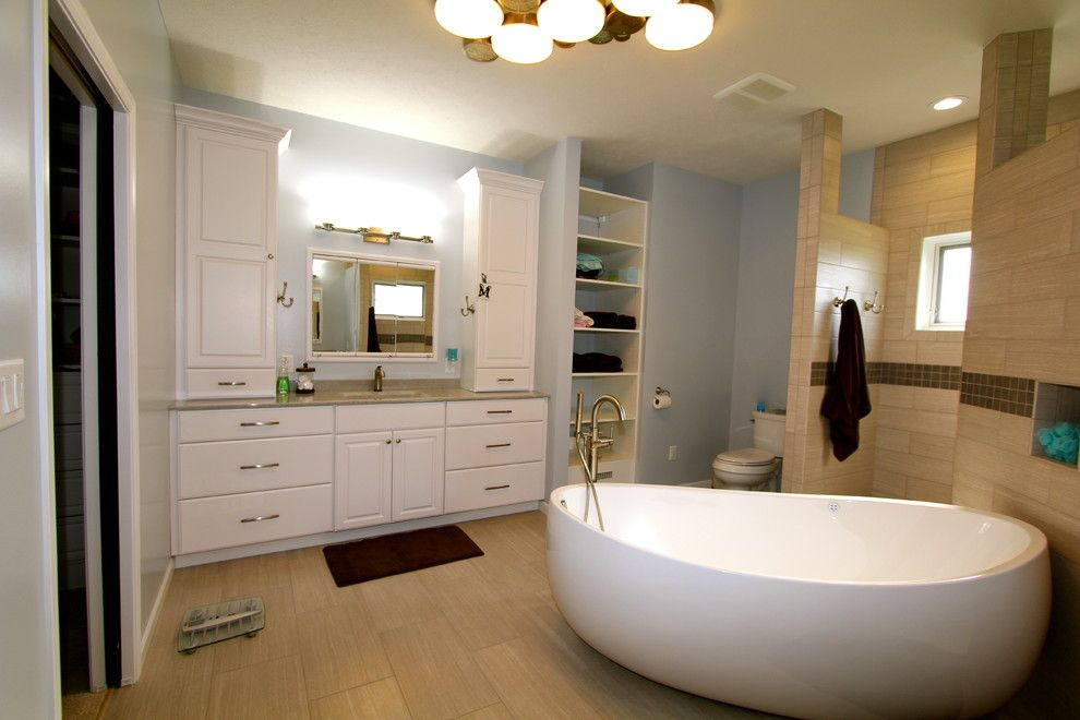 Pearle Vision Omaha for a Modern Bathroom with a White and Great Modern Space by Merritt's Quality Cabinets