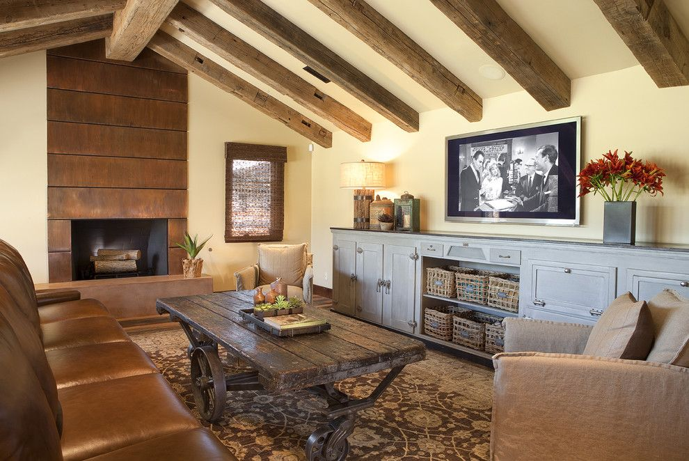 Peninsula Wellness Center for a Traditional Family Room with a Beige Wall and Concrete Fireplace Phx Hg by Paradise Concrete Design Studio