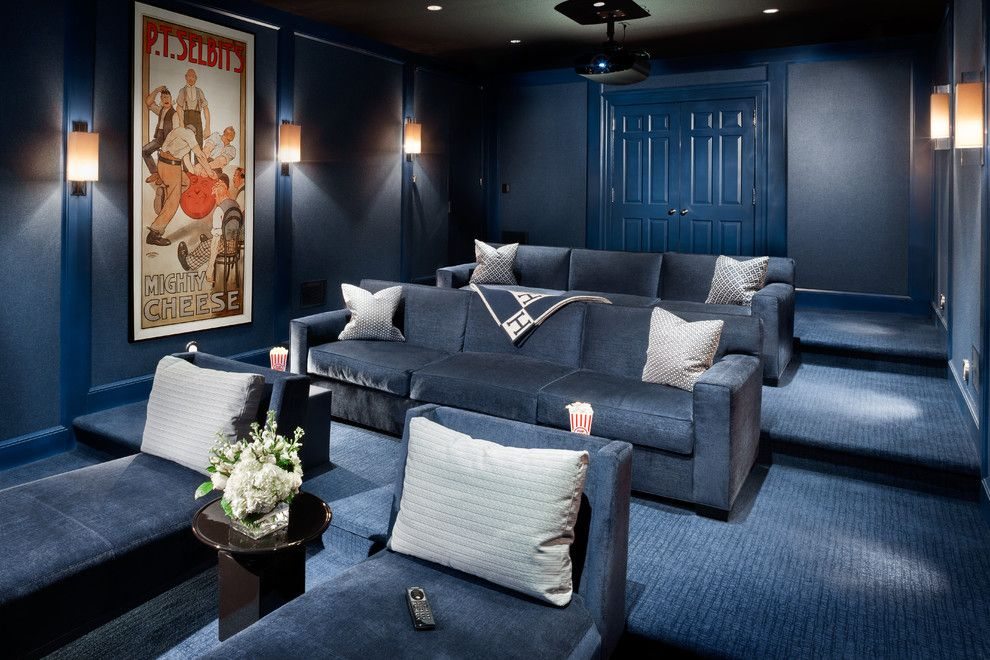 Peninsula Wellness Center for a Transitional Home Theater with a Totem Speakers and Blue Crush by Electronics Design Group, Inc.