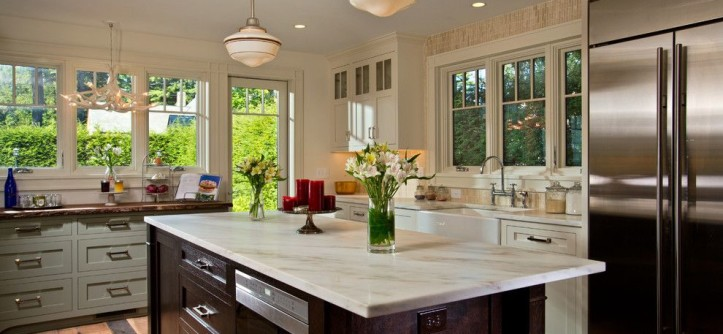 Penthouse New Orleans for a Transitional Kitchen with a Marble Counter and Lake Sacandaga Getaway by Teakwood Builders, Inc.