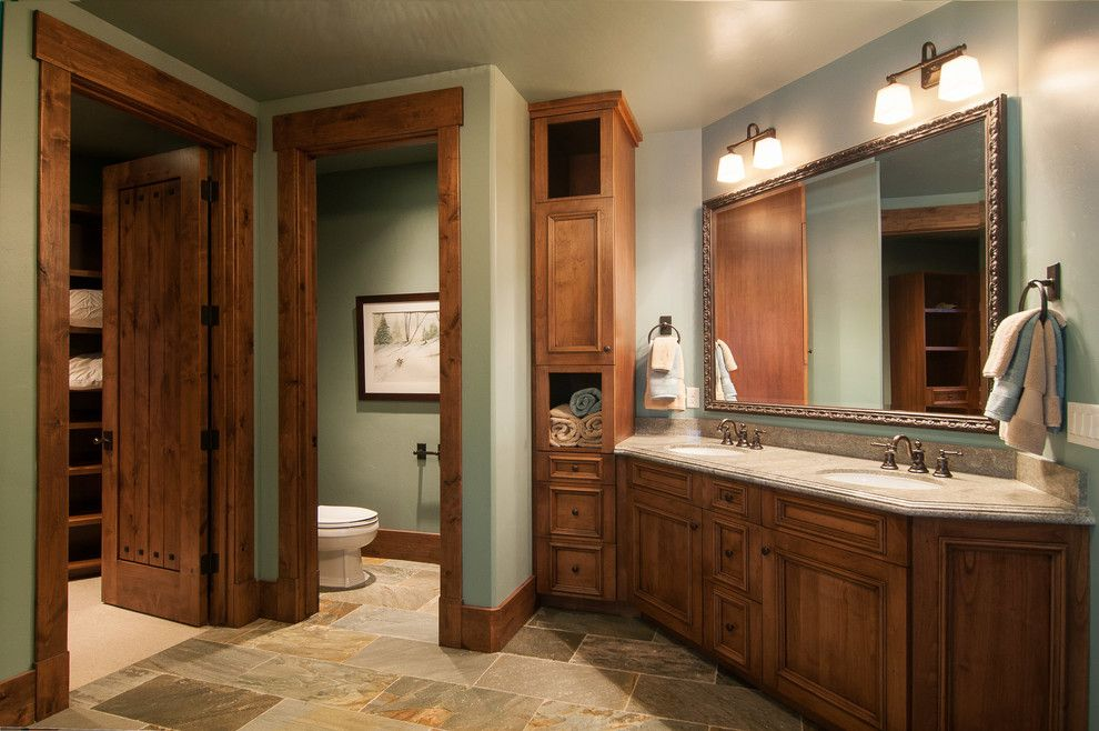 Perry Homes Utah for a Rustic Bathroom with a Dark Wood Sink Cabinet and 2013 Park City Showcase of Homes by Utah Home Builder, Cameo Homes Inc. by Cameo Homes Inc.