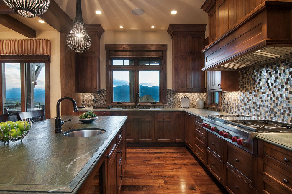 Perry Homes Utah for a Rustic Kitchen with a Multi Color Backsplash and 2013 Park City Showcase of Homes by Utah Home Builder, Cameo Homes Inc. by Cameo Homes Inc.