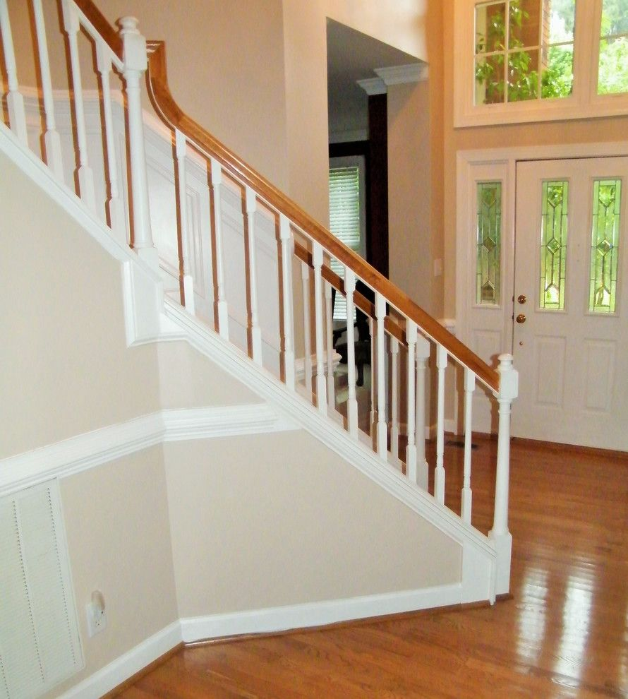 Pf Changs Raleigh for a Transitional Staircase with a Banisters and Arshad Stair Remodel by Verona Designs, Llc