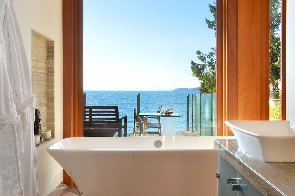 Pf Changs Waterfront for a Contemporary Bathroom with a Picture Window and Davis Bay by Streamline Design Ltd.   Kevin Simoes