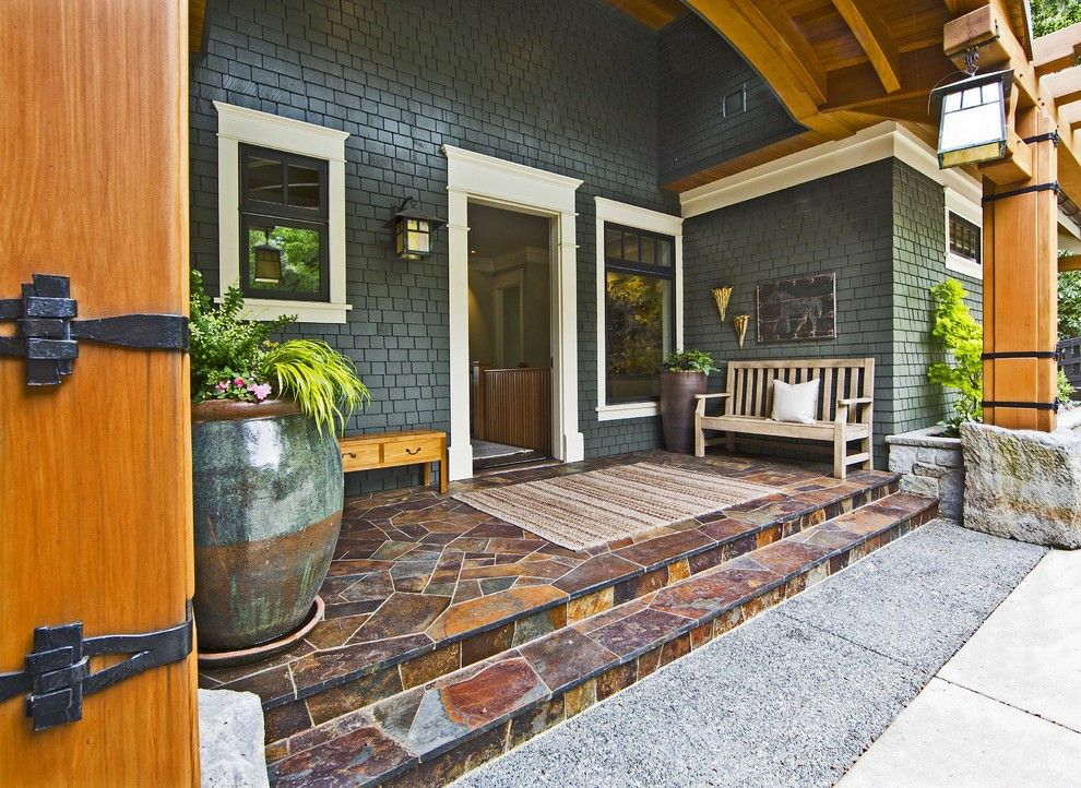 Pf Changs Waterfront for a Traditional Porch with a Wood Bench and Traditional Porch by Shulerarchitecture.com