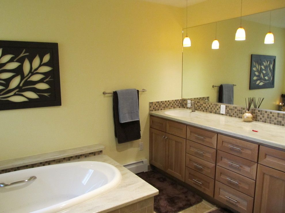 Phinney Ridge for a Contemporary Bathroom with a Mosaic Tile Backsplash and Oceanview (Anchorage) Master Bath by Chanelle M Woodis