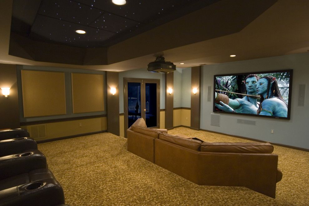 Phipps Movie Theater for a Contemporary Home Theater with a Paneling and Unique, Custom Theater Seating   Light & Bright by Gramophone
