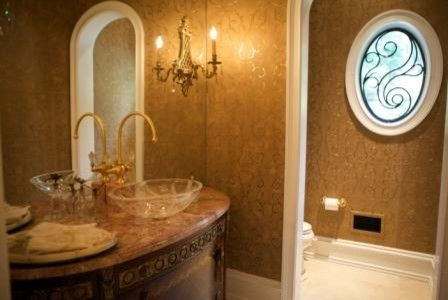 Phylrich for a  Bathroom with a Wallpaper and Semerjian Interiors by Semerjian Interiors