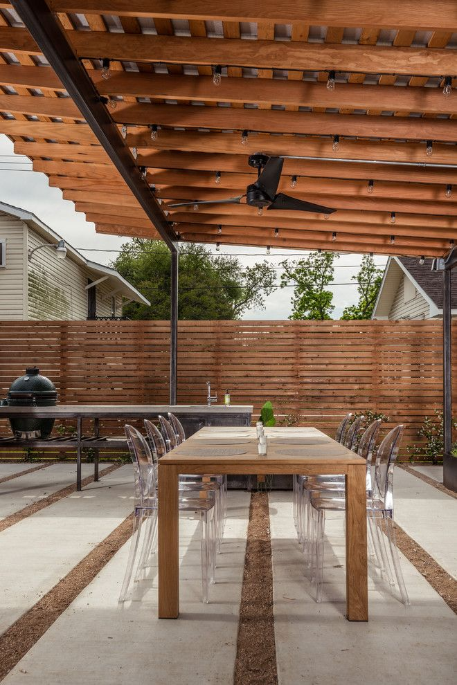 Picket Fence Realty for a Contemporary Patio with a Grill Counter and Back Yard Patio by Brett Zamore Design