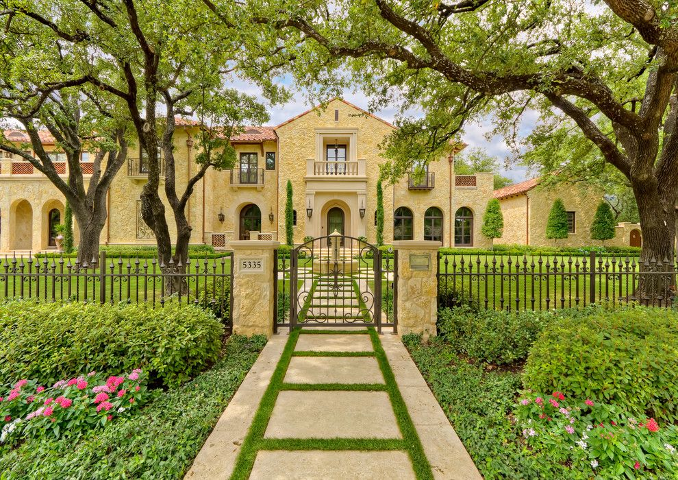 Picket Fence Realty for a Mediterranean Exterior with a Arch Windows and Private Residence   Mediterranean Tuscan by Harold Leidner Landscape Architects