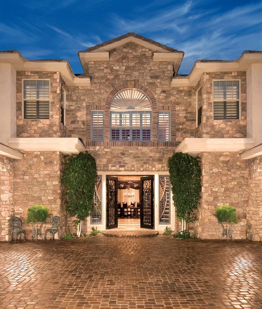 Pickleball Court Dimensions for a Mediterranean Exterior with a Masonry Products and French Country Home Exterior   Coronado Stone Veneer by Coronado Stone Products