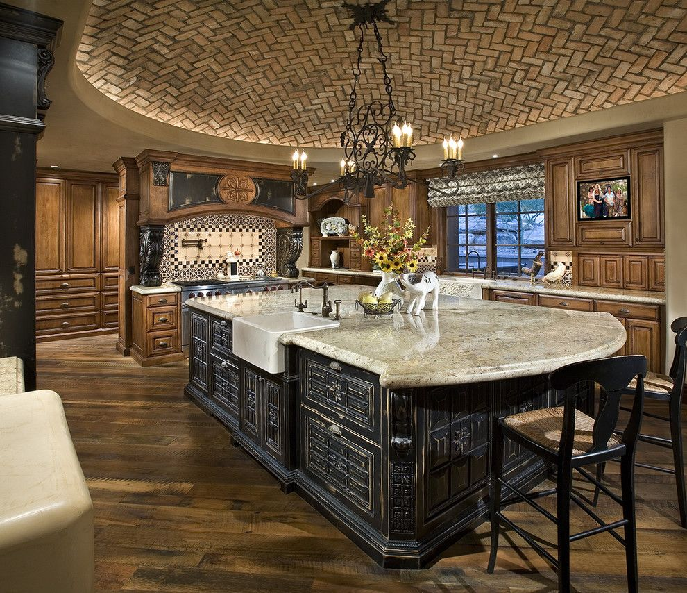 Pickleball Court Dimensions for a Mediterranean Kitchen with a Island Lighting and Kitchen by Bess Jones Interiors