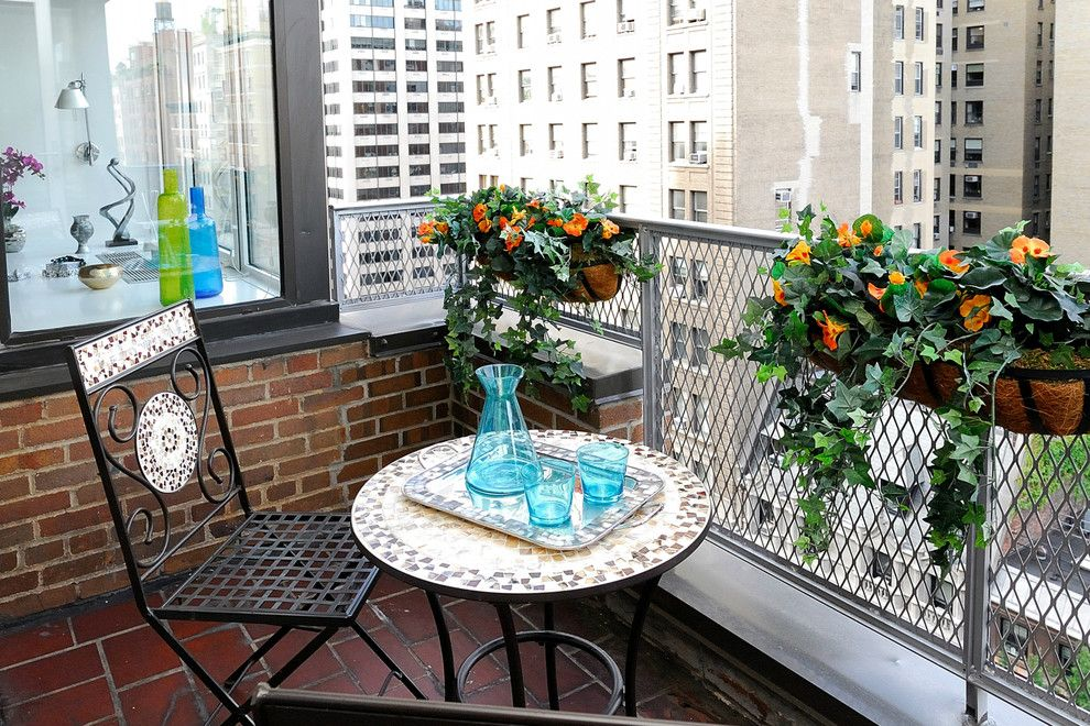 Picnic Basket Nyc for a Traditional Balcony with a Orange Flowers and Nyc Outdoor Spaces by Designed to Appeal by Designed to Appeal