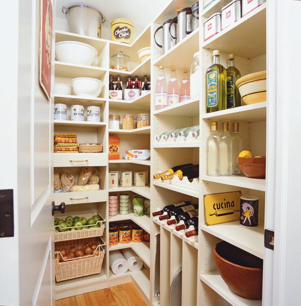Picnic Basket Nyc for a Traditional Kitchen with a Corner Shelf and Spacious Kitchen Pantry by transFORM | the Art of Custom Storage