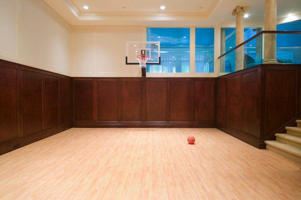 Pictures of Basketballs for a Traditional Home Gym with a Hardwood Floor and Middlebelt, Michigan by Desrosiers Architects