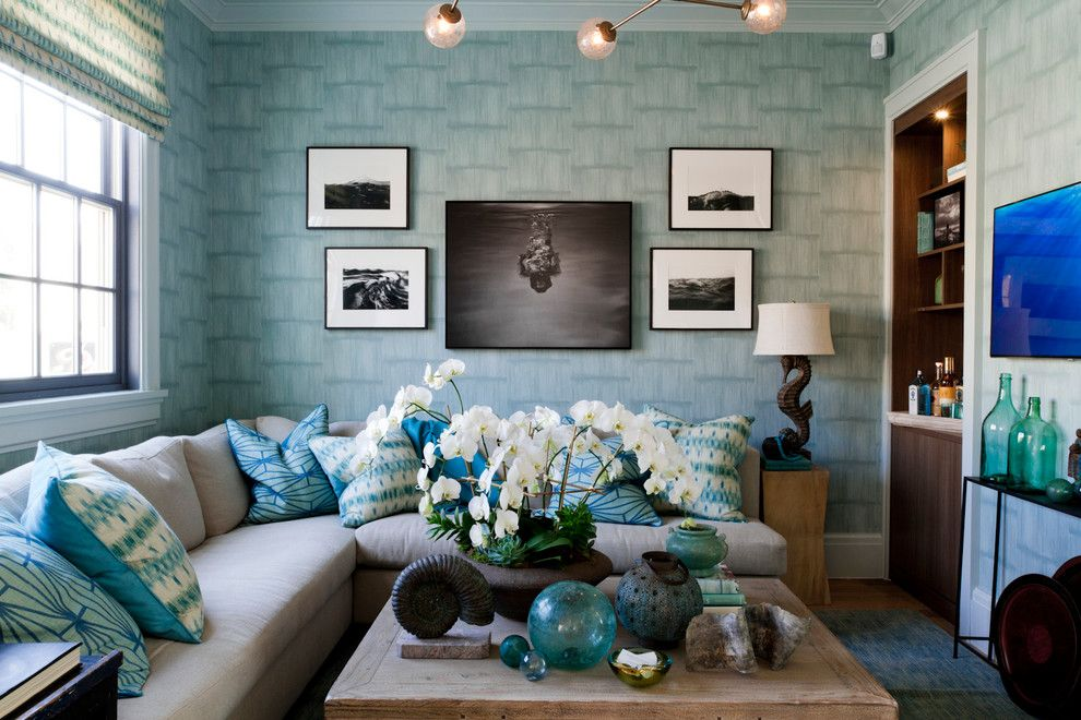 Pictures of Seahorses for a Contemporary Family Room with a Square Coffee Table and Bjornen Design, Holiday House Hamptons 2014 by Rikki Snyder