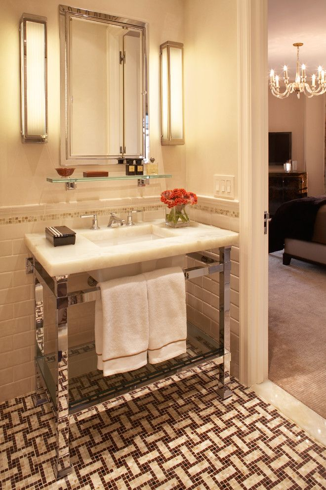 Pierce Flooring for a Traditional Bathroom with a Floating Shelf and Central Park West Tower by David Scott Interiors
