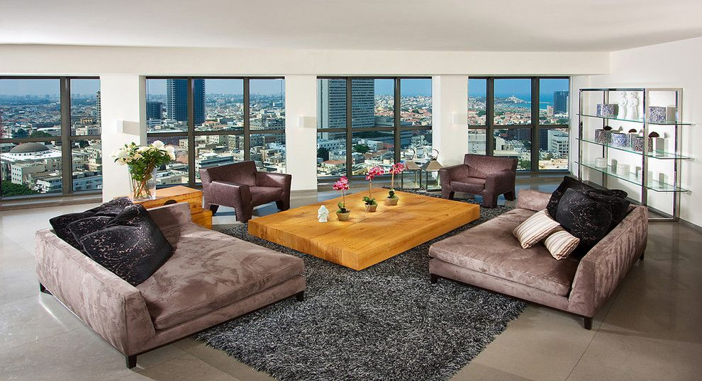 Pilgrim Furniture City for a Contemporary Living Room with a Marble Floor and Living Room by Elad Gonen