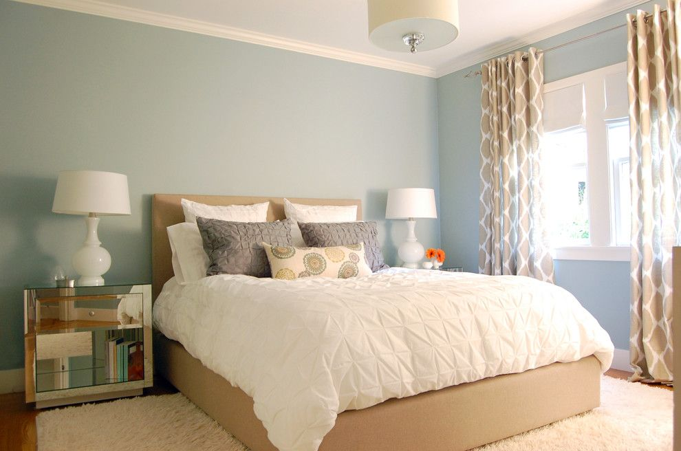 Pillow Sham for a Contemporary Bedroom with a White Wood and Noe Valley Makeover by Niche Interiors