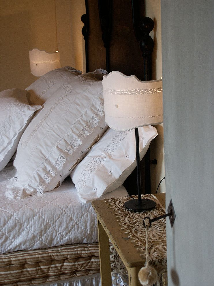 Pillow Sham for a Farmhouse Bedroom with a Custom Lamps and La Fornella by Lisa Gabrielson Design