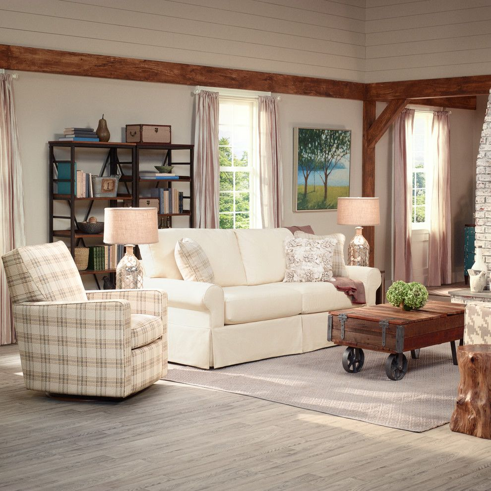 Pinecone Hill for a Farmhouse Living Room with a Plaid Armchair and La Z Boy by La Z Boy