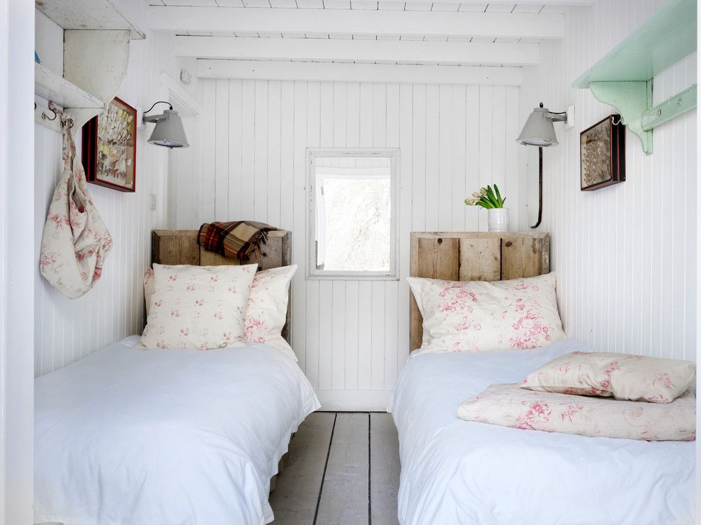 Pink Sands Bahamas for a Shabby Chic Style Bedroom with a White Walls and Winchelsea Beach by Cabbages & Roses Ltd