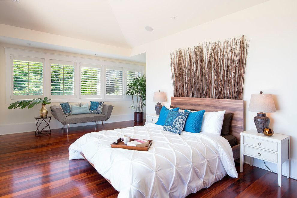 Pintuck for a Beach Style Bedroom with a Blue Pillows and Style Update in Lanikai Luxury Home by Island Hale Interiors