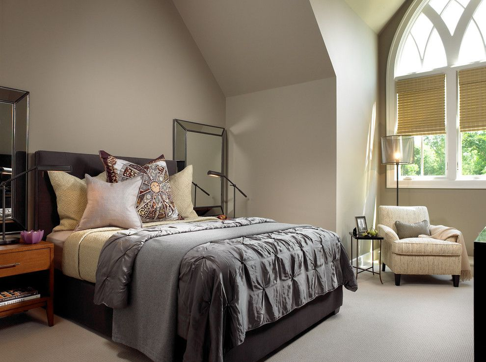 Pintuck for a Contemporary Bedroom with a Gothic and Pool House & Wine Cellar by Beckwith Interiors