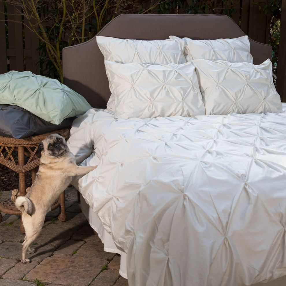 Pintuck for a Traditional Bedroom with a Natural Pintuck and 400 Thread Count Off White Pintuck Duvet Cover, the Valencia Natural by Crane & Canopy