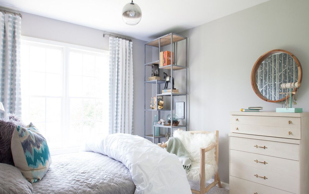 Pintuck for a Transitional Bedroom with a Design by Beth Keim and Girl's Rooms by Lucy and Company