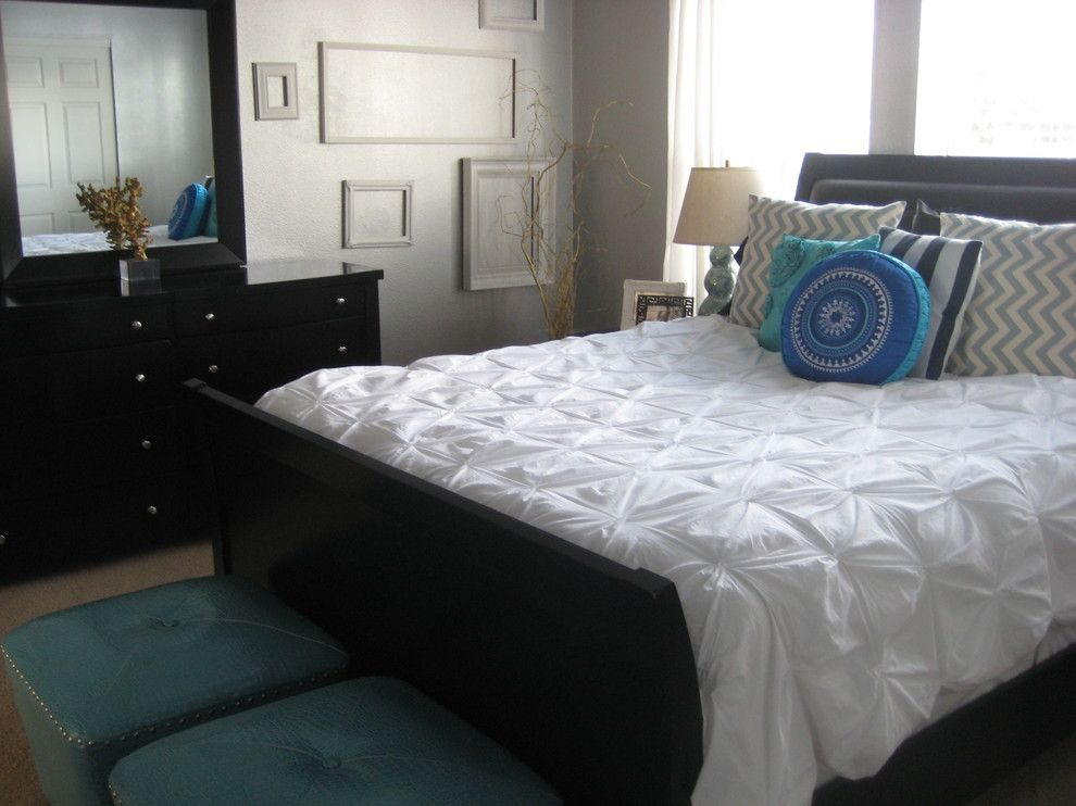Pintuck for a Transitional Bedroom with a Dresser and Master Bedroom by Leah
