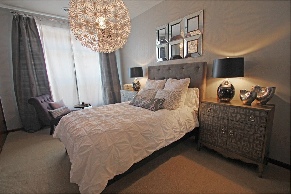 Pintuck for a Transitional Bedroom with a Purple Chaise and Master Bedroom by Happy Interiors Group